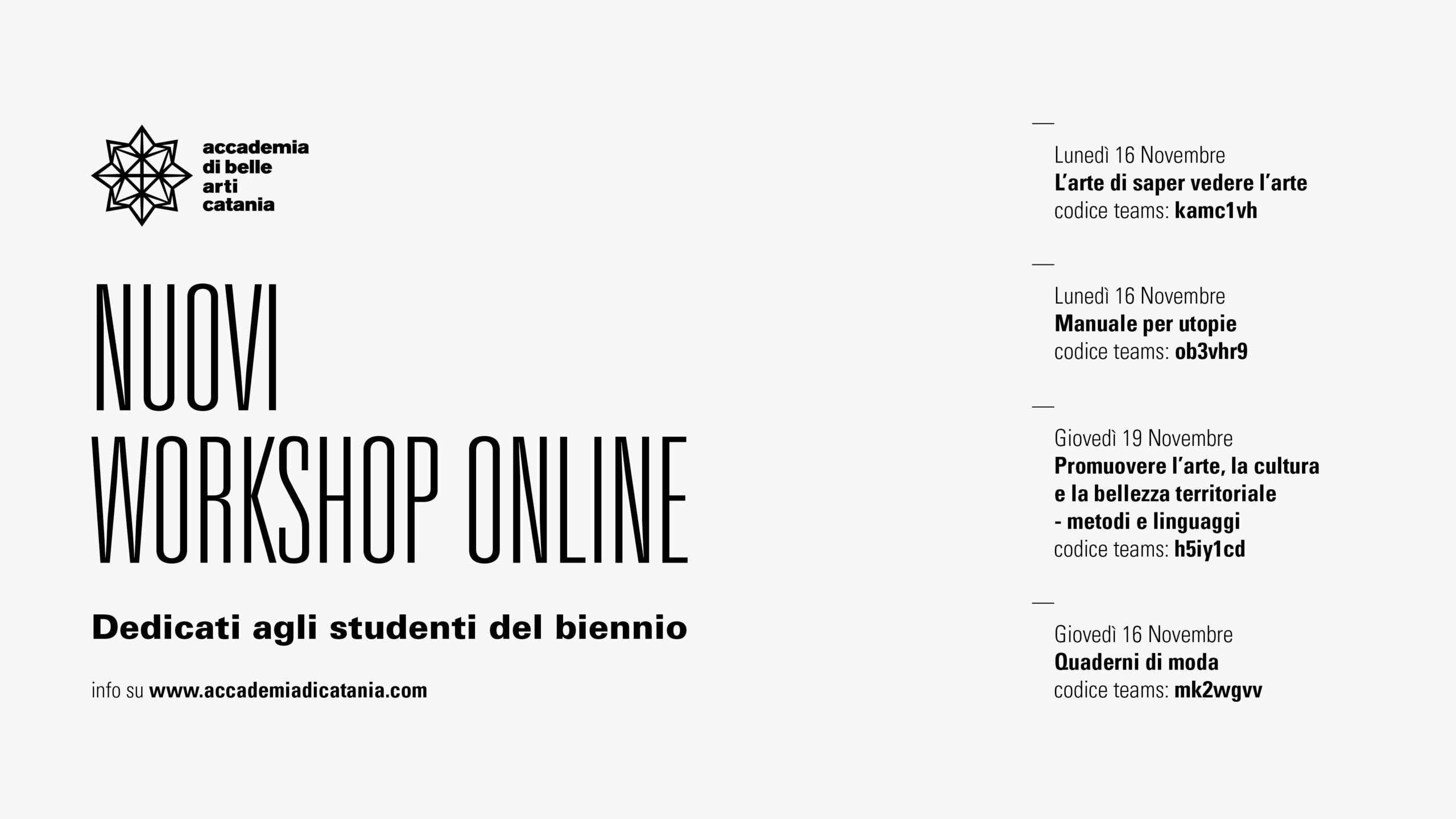 nuovi workshop online
