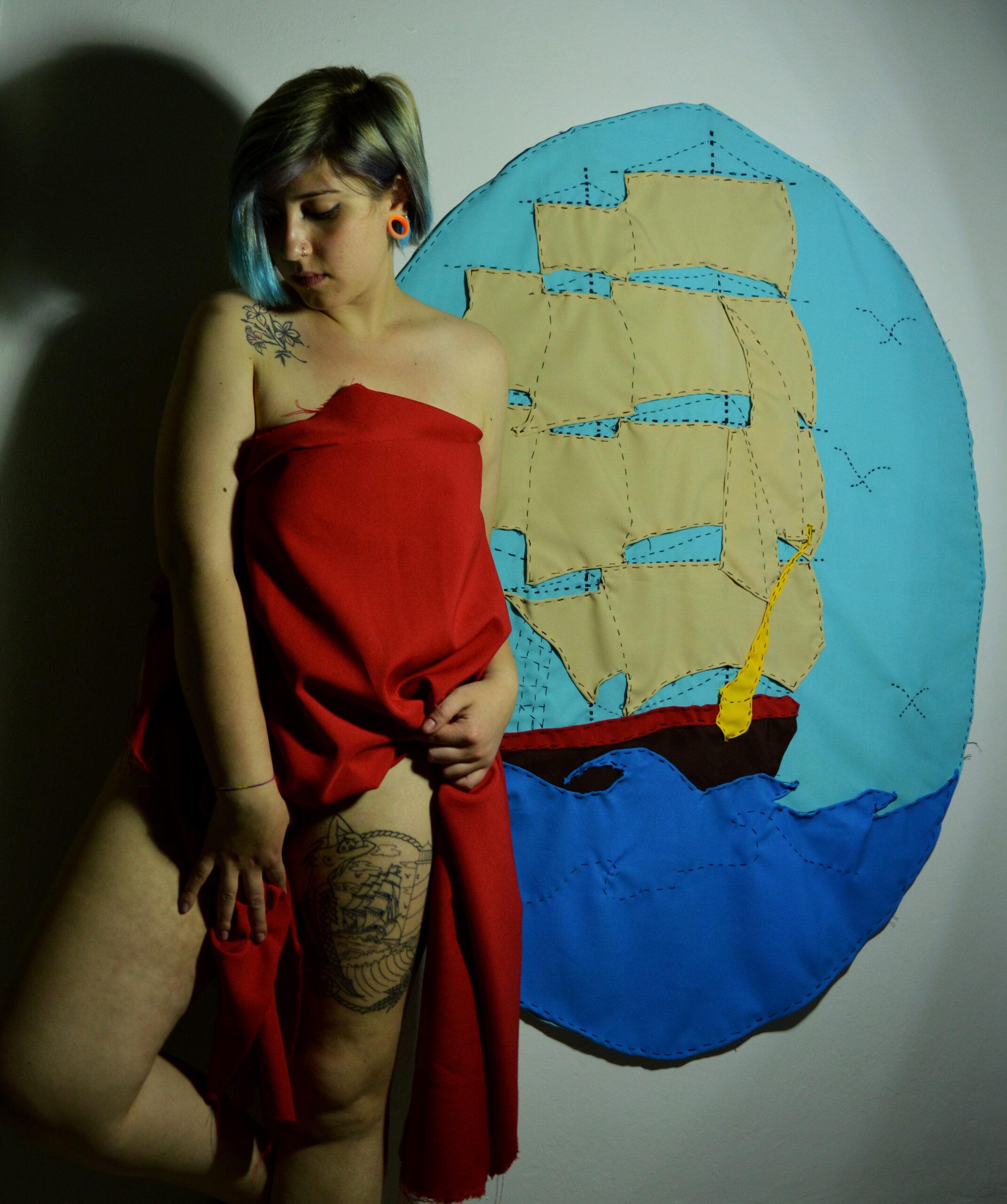 Gabriella Maria Giordano, veliero su stoffa e tatuaggio old school